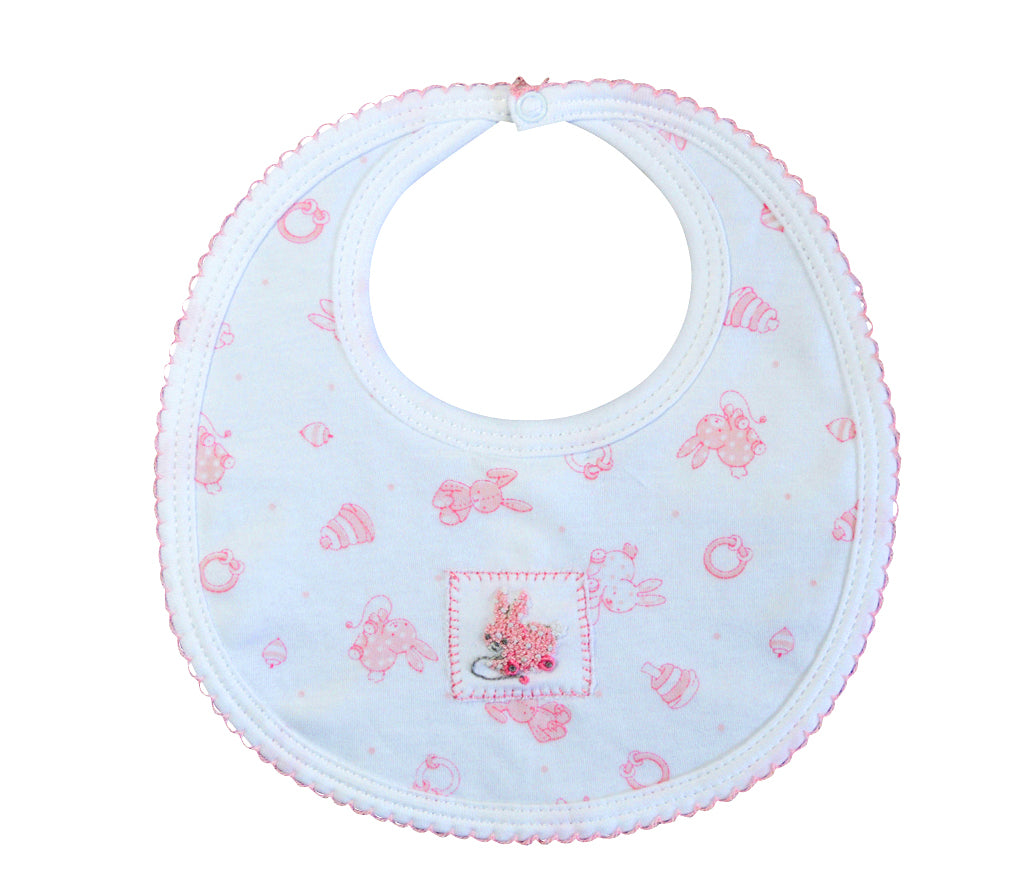 Toy Bunnies Print Girl's Bib - Little Threads Inc. Children's Clothing