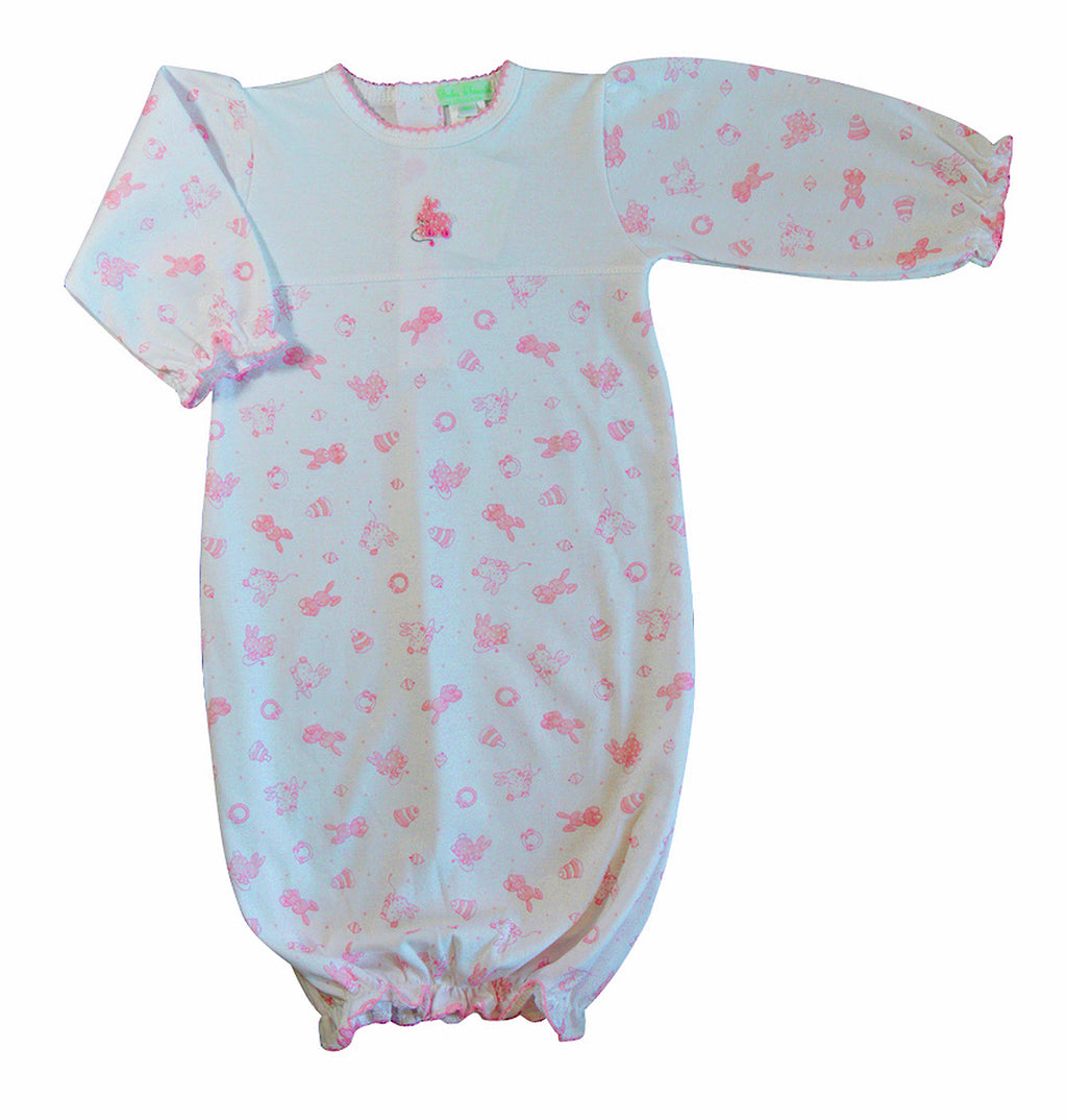 Bunny toy  Print  Girl's Daygown - Little Threads Inc. Children's Clothing