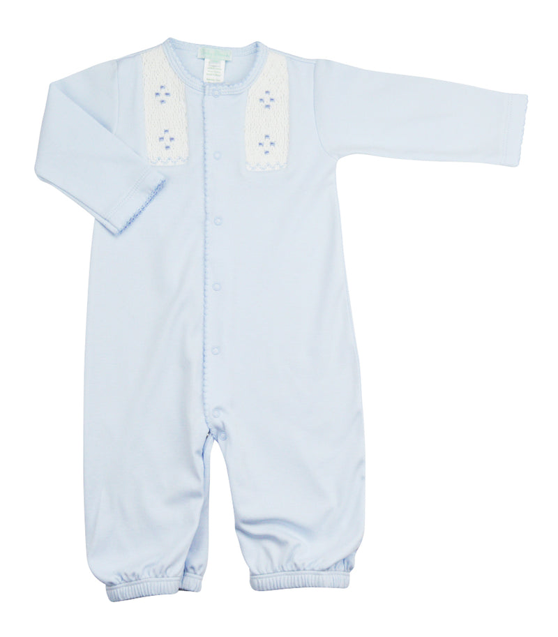 Blue hand Smocked baby boy converter gown - Little Threads Inc. Children's Clothing