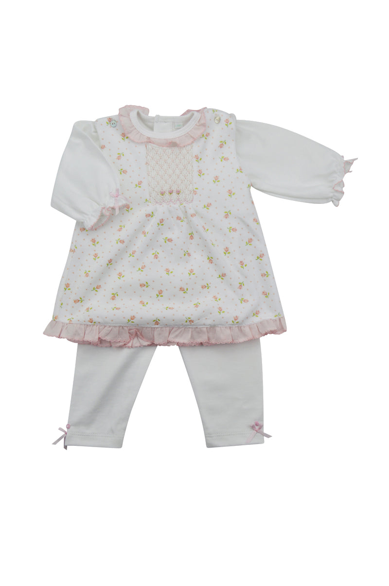 Baby Girl's Smocked Floral Print Jumper Set - Little Threads Inc. Children's Clothing