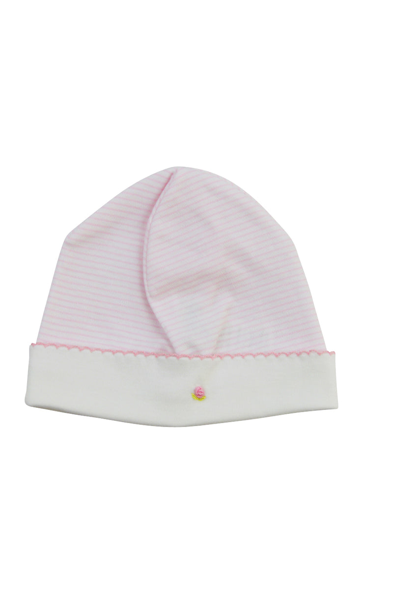 Baby Girl's Pink Striped Rose Hat - Little Threads Inc. Children's Clothing