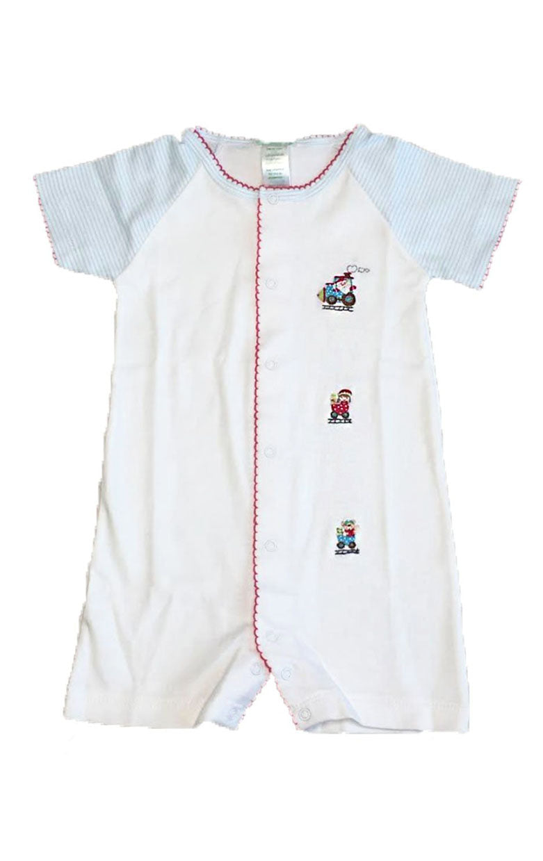 Baby Boy's Christmas Train Romper