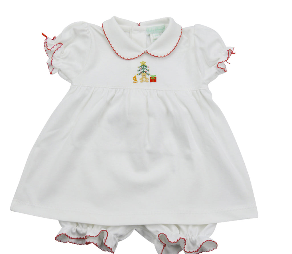 Christmas tree and bear white pima cotton  baby dress - Little Threads Inc. Children's Clothing
