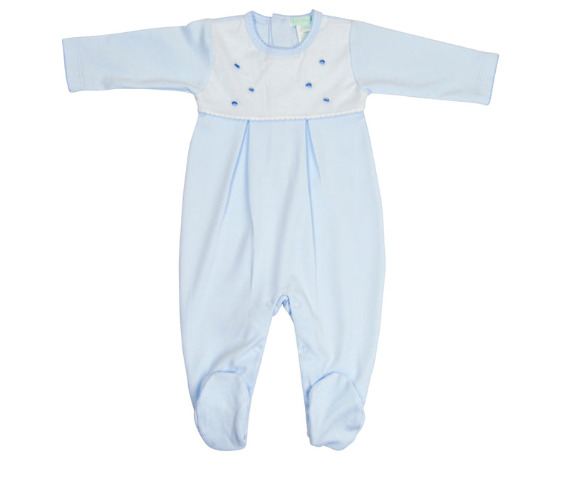 Blue dots Pima cotton Baby Footie - Little Threads Inc. Children's Clothing