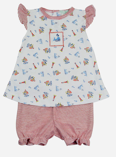 Sailboats prints Pima Cotton dress set - Little Threads Inc. Children's Clothing