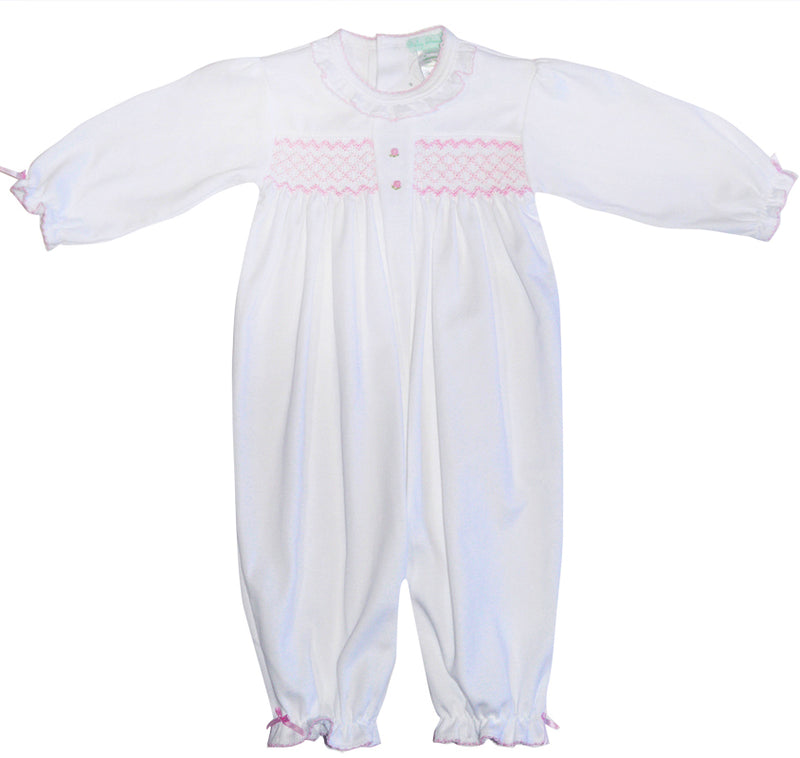 Baby Girl's White and Pink Hand Smocked Converter - Little Threads Inc. Children's Clothing