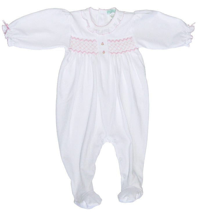 Baby Girl's White Hand Smocked Footie - Little Threads Inc. Children's Clothing