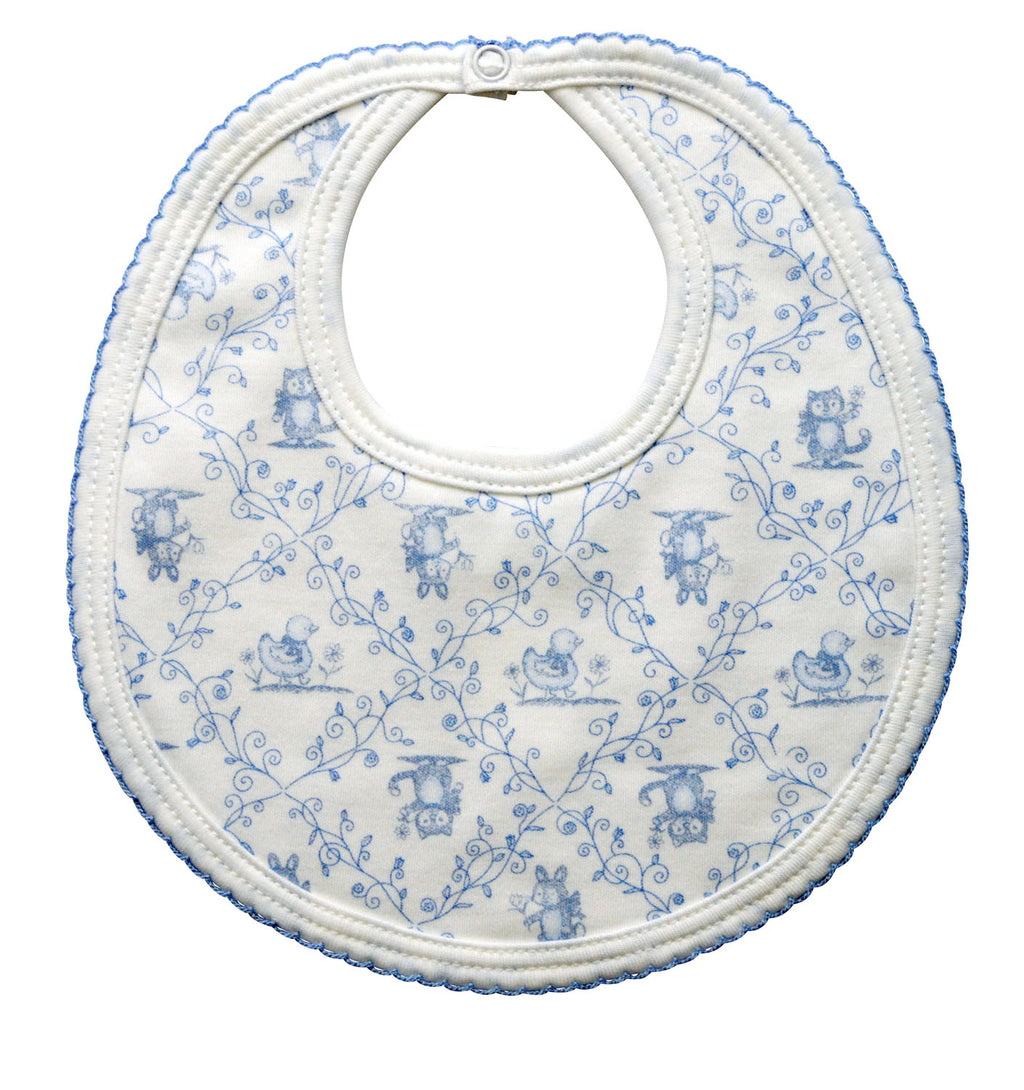 Toile print baby boy bib - Little Threads Inc. Children's Clothing