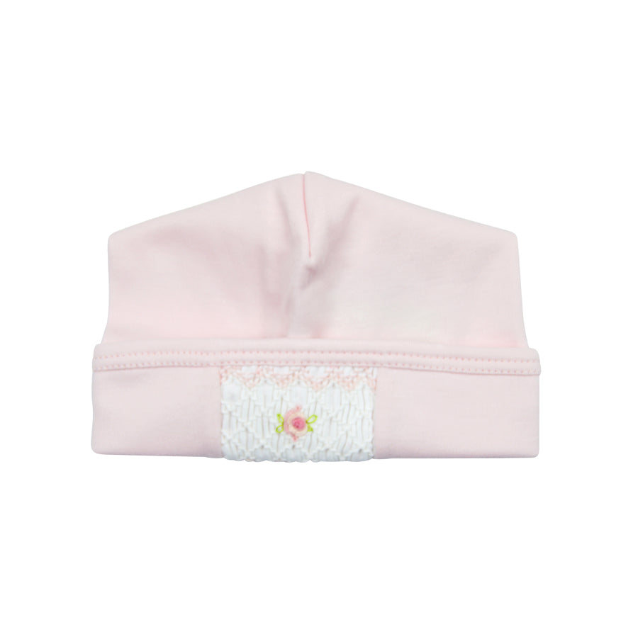 Baby Girl Pink Hand Smocked Rosebud Hat - Little Threads Inc. Children's Clothing
