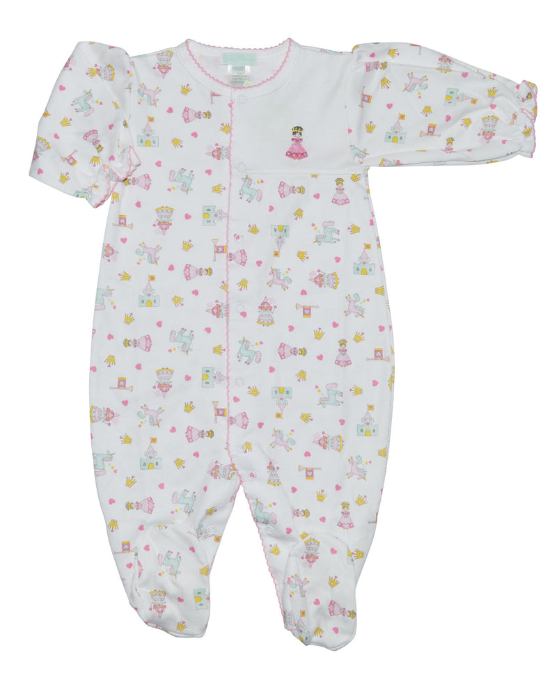 Princess and Castles Pima Cotton Baby footie - Little Threads Inc. Children's Clothing