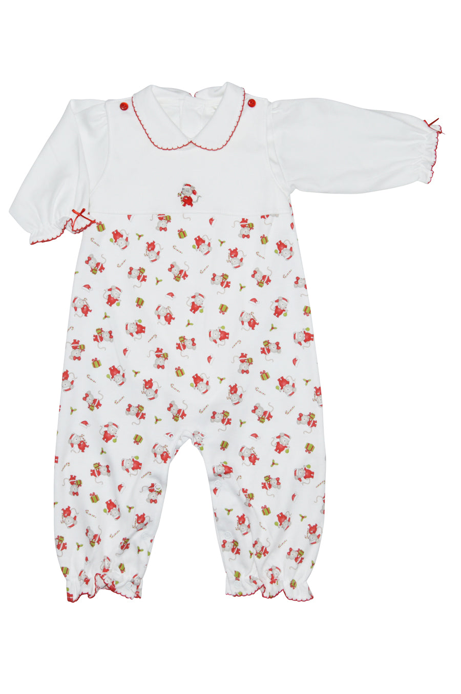Baby Threads Christmas Mouse Print Overall Set - Little Threads Inc. Children's Clothing