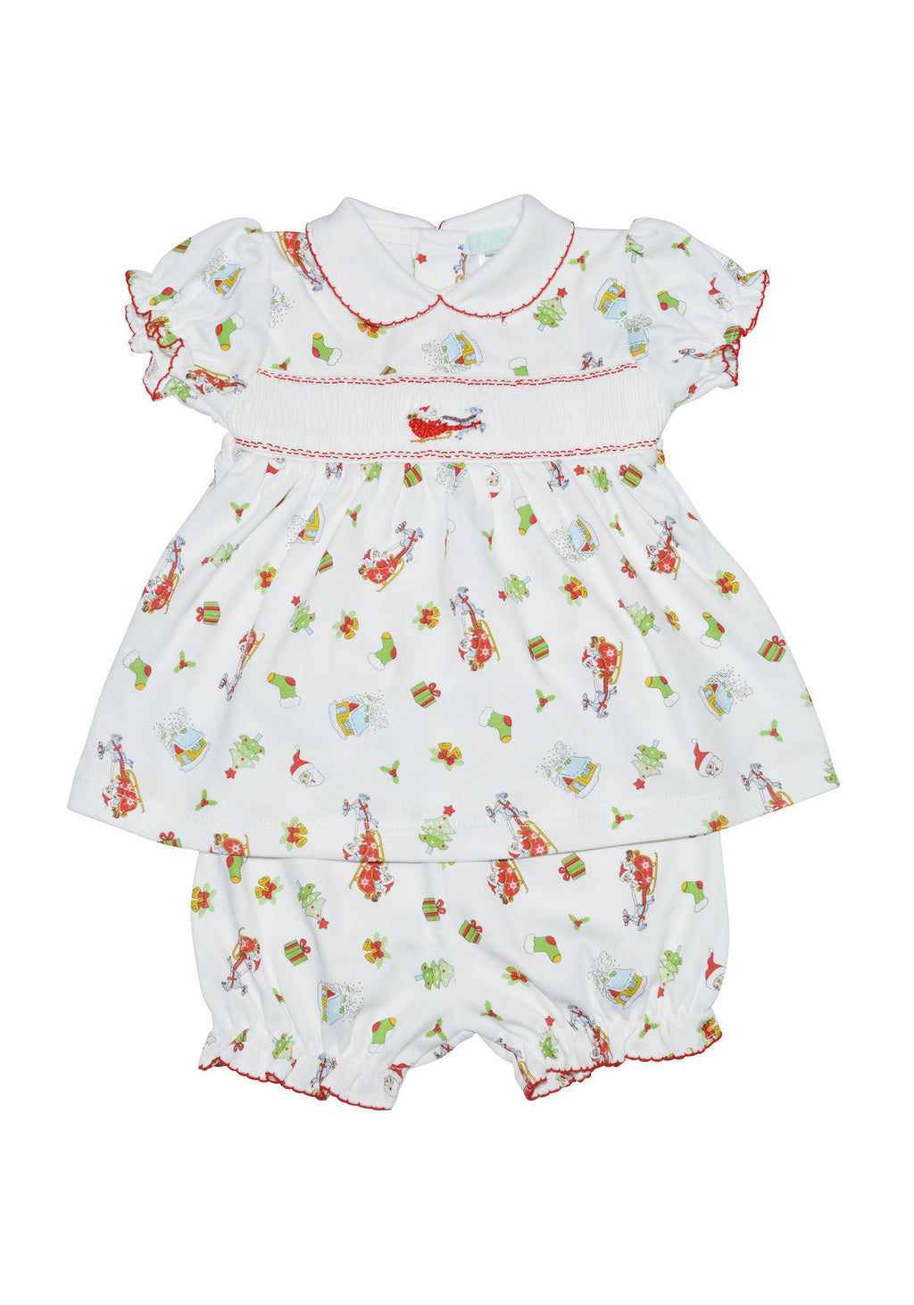 Santa on the Way Smocked Dress - Little Threads Inc. Children's Clothing