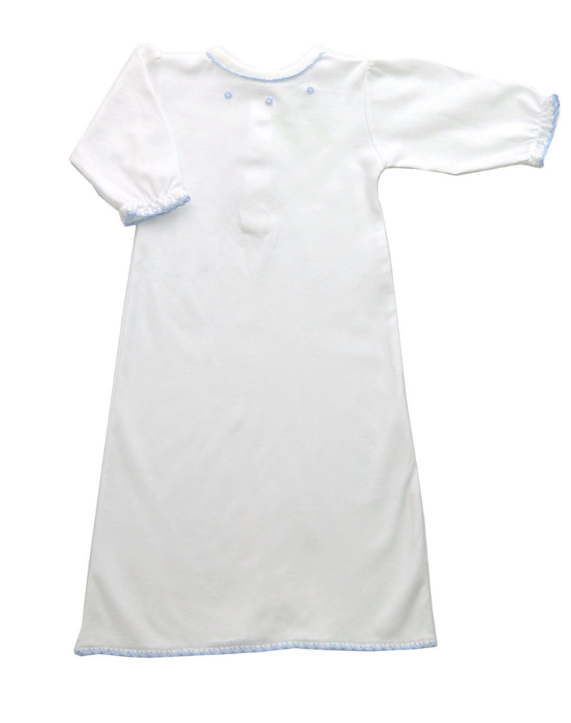 Baby Boy's Blue Crochet Trim Daygown - Little Threads Inc. Children's Clothing