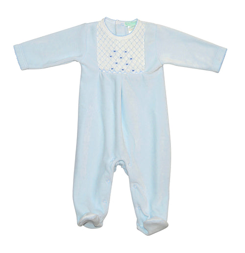 Baby Blue Velour Hand smocked footie
