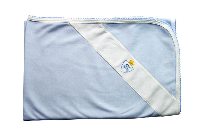 Baby Boy Blue Blanket with Crown and Monogram - Little Threads Inc. Children's Clothing