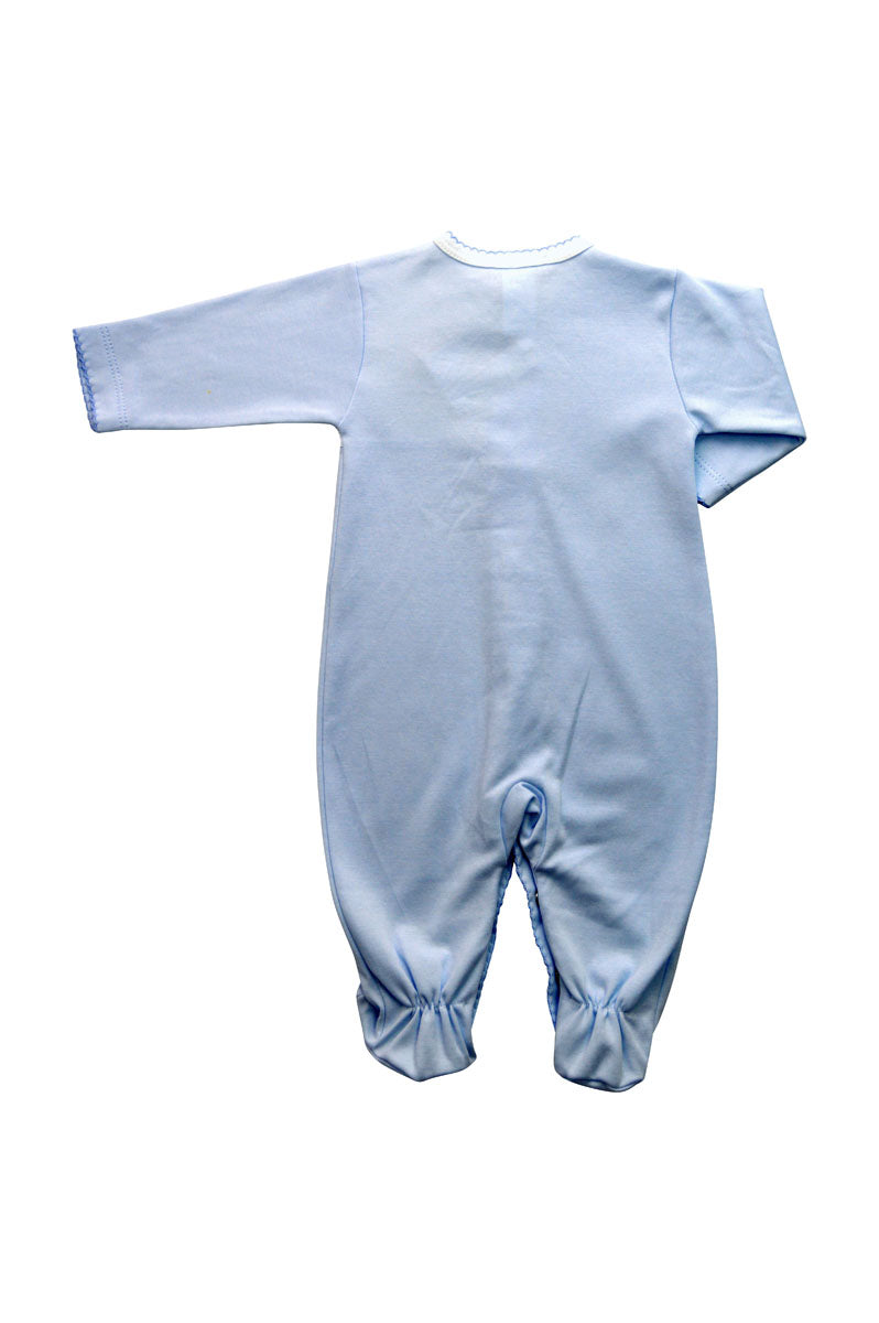 Baby Boy Blue Footie with Crown and Monogram - Little Threads Inc. Children's Clothing
