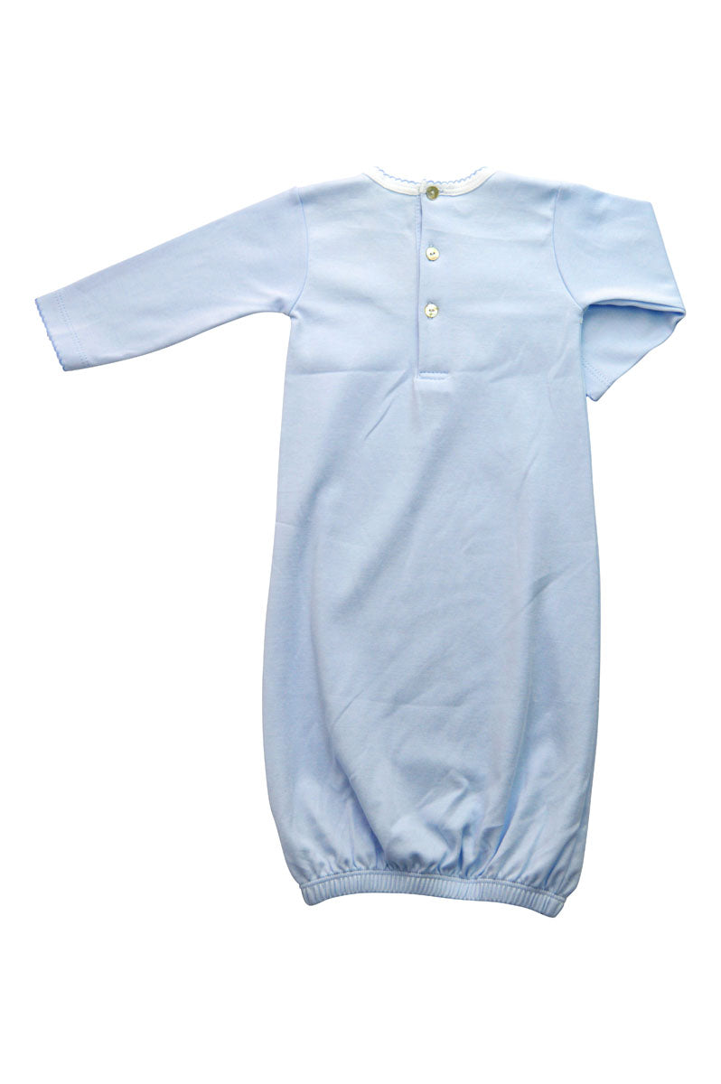 Baby Boy Blue Daygown with Crown and Monogram - Little Threads Inc. Children's Clothing