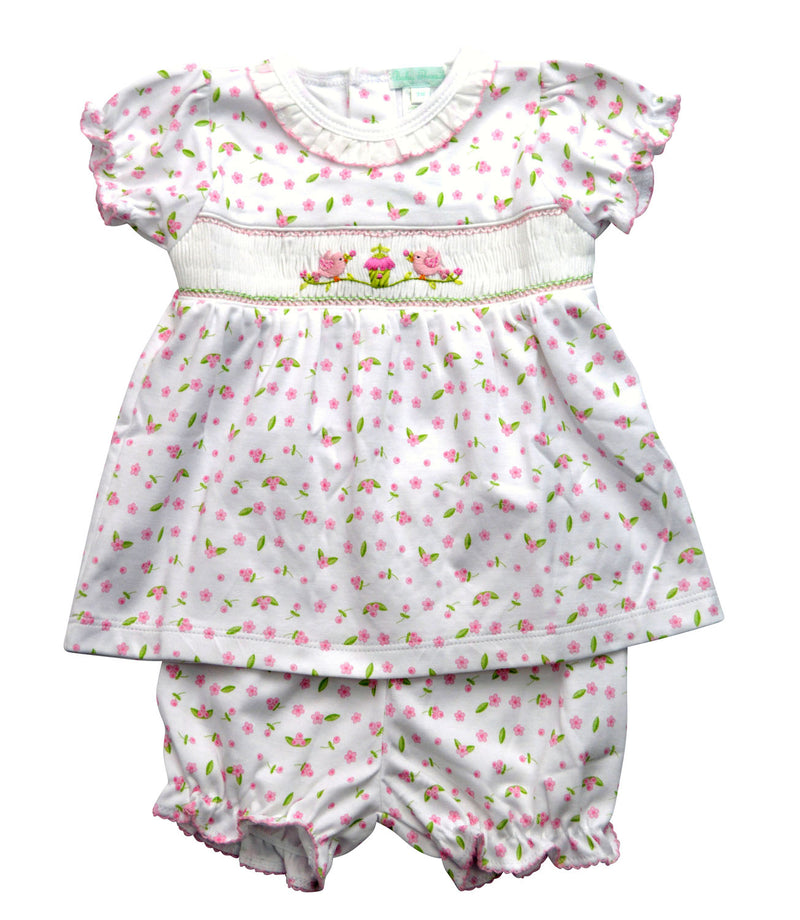 Bird Cage Print hand smocked baby dress