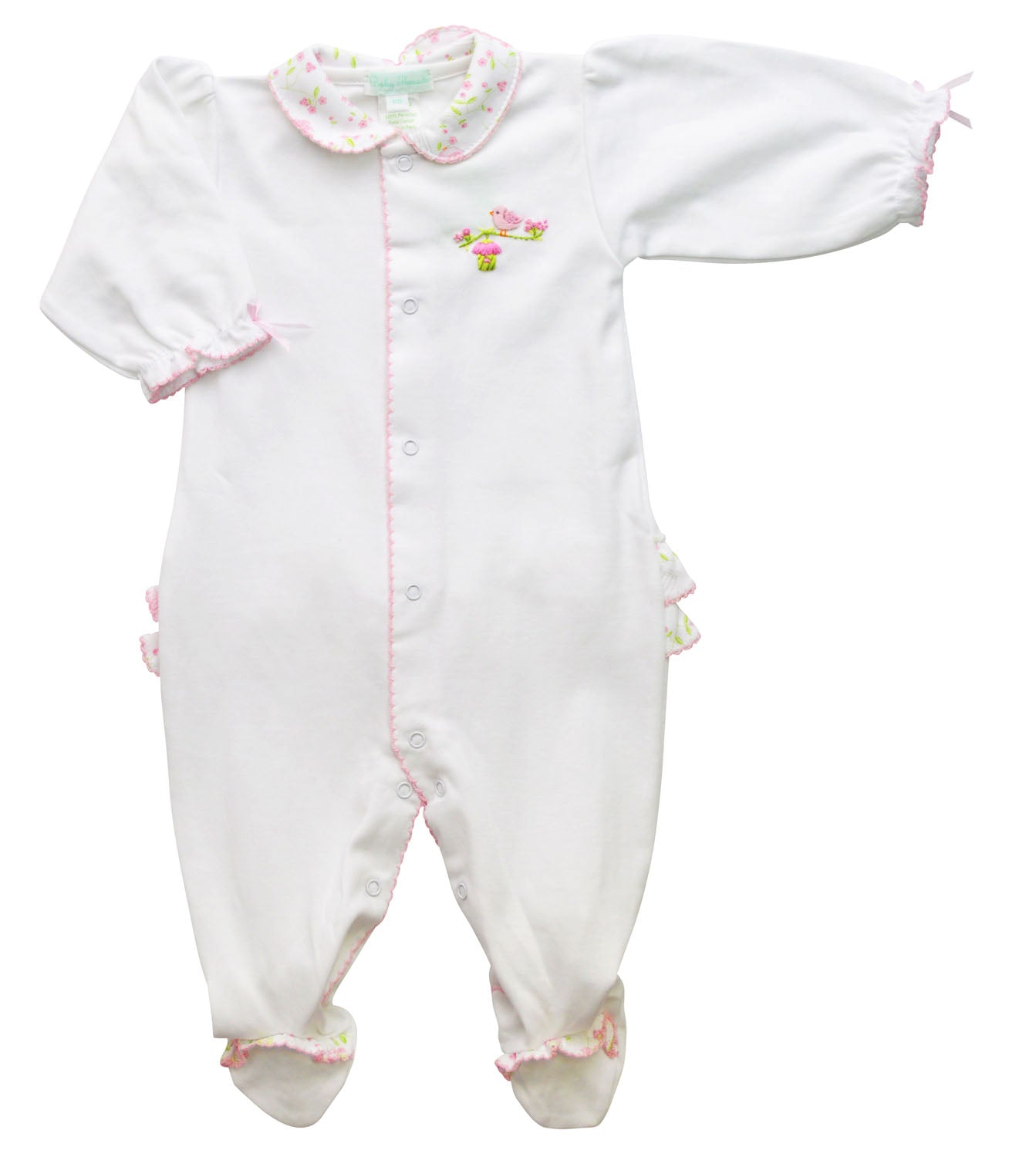 Birdcages and birds white pima cotton baby footie