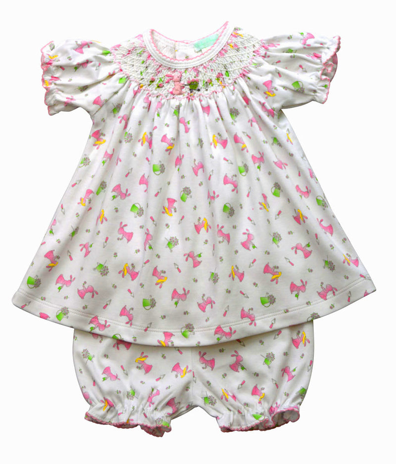 Bunnies Print Hand Smocked Bishop Dress