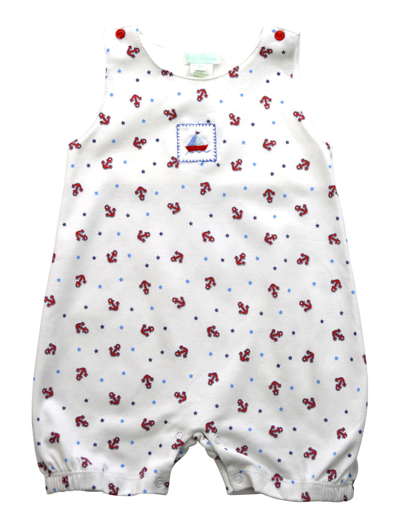 Baby Threads Pima cotton Anchors and stars baby overall