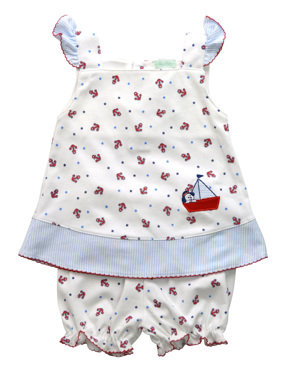 Anchor and Sailboat applique baby girls dress - Little Threads Inc. Children's Clothing