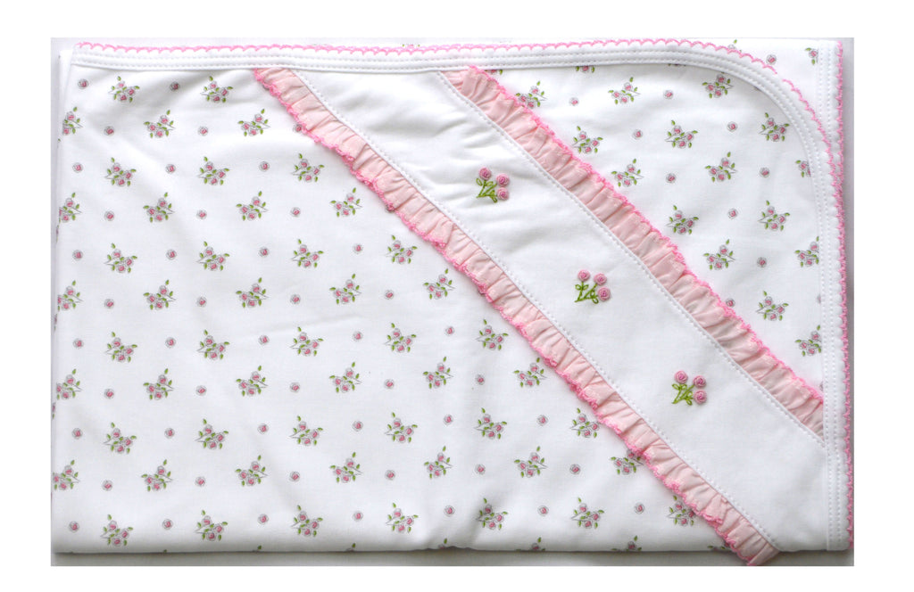 Pink Pima cotton  floral print blanket - Little Threads Inc. Children's Clothing