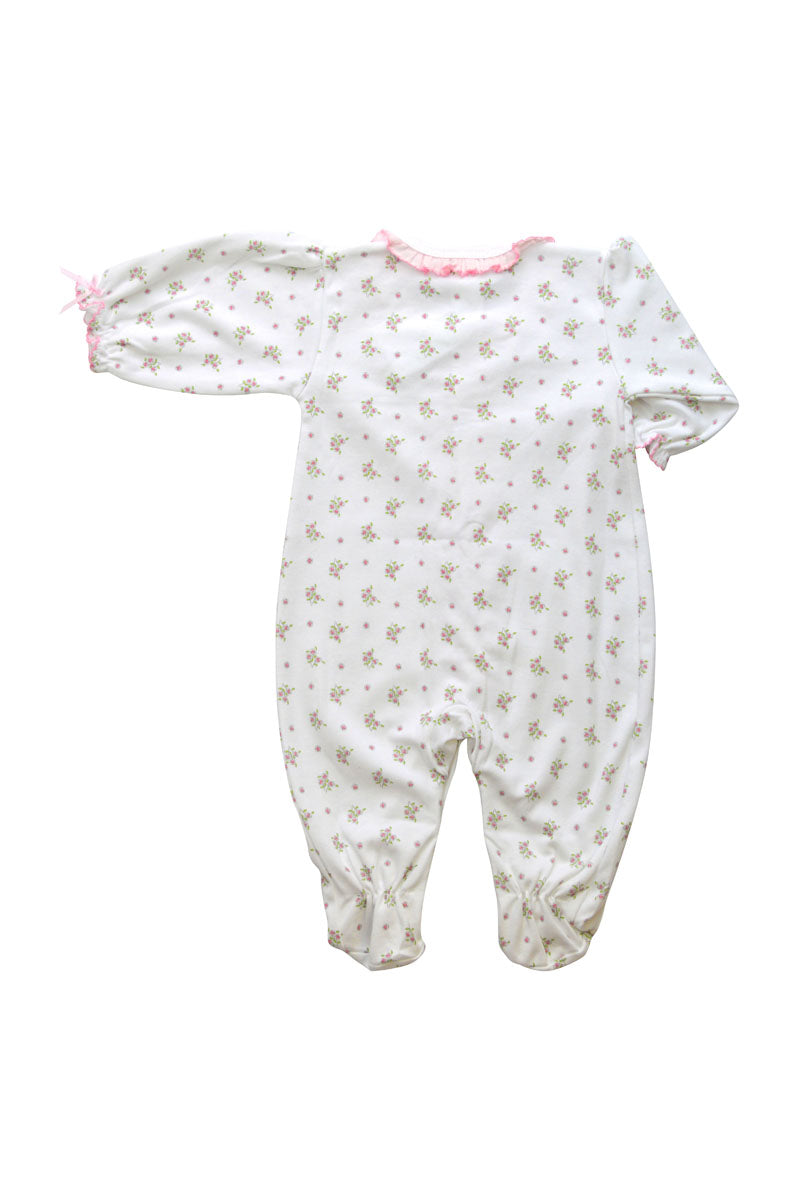 Baby Girl Rose Print Footie - Little Threads Inc. Children's Clothing