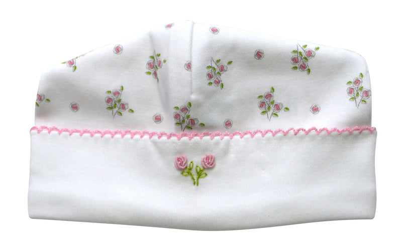 Pink floral pima cotton baby girl hat - Little Threads Inc. Children's Clothing