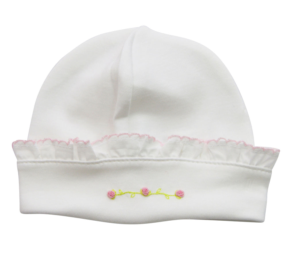 Baby Girl's White Pink Flowers Hat - Little Threads Inc. Children's Clothing