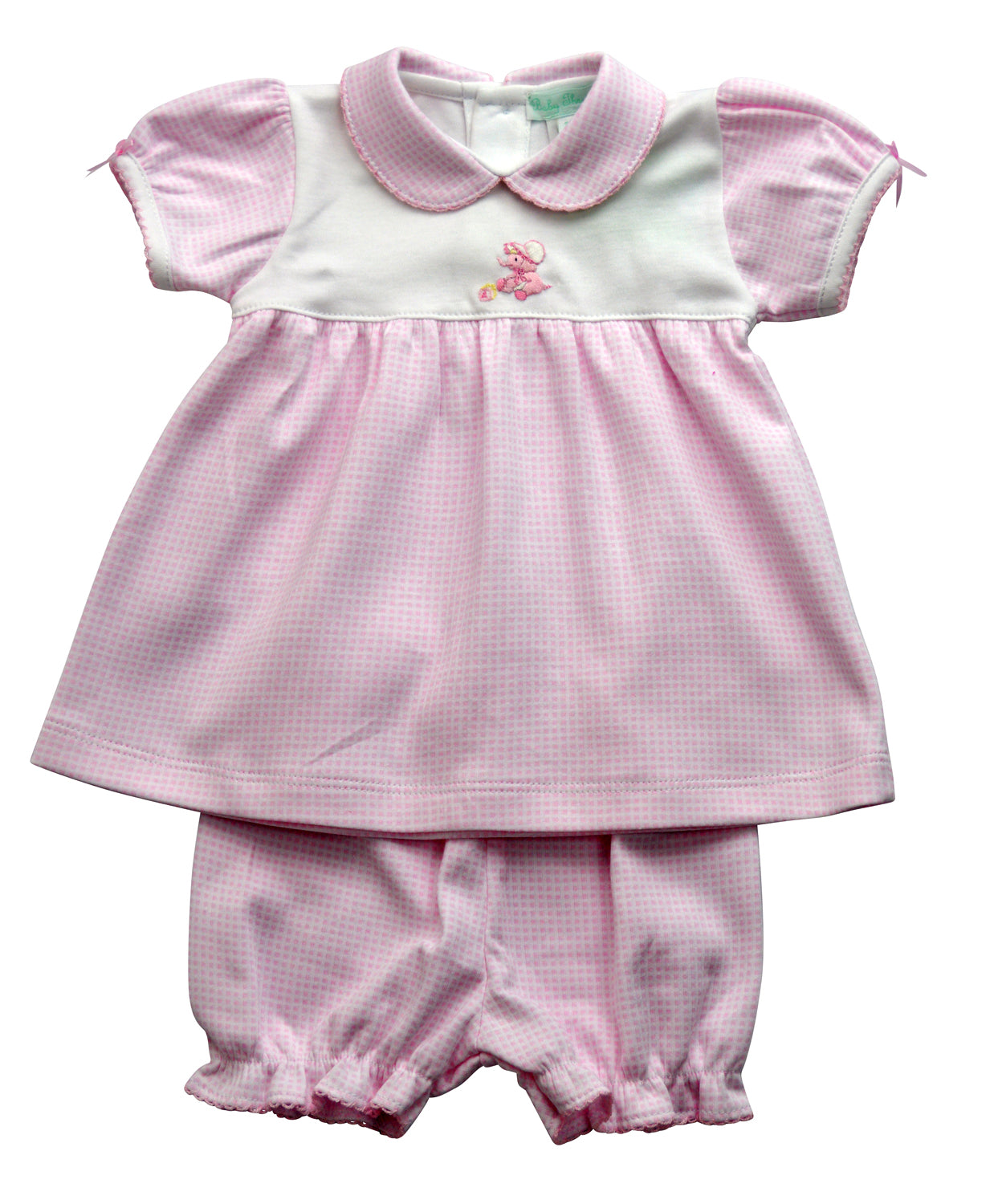 Elephant hand embroidered pink checks baby dress size 3m