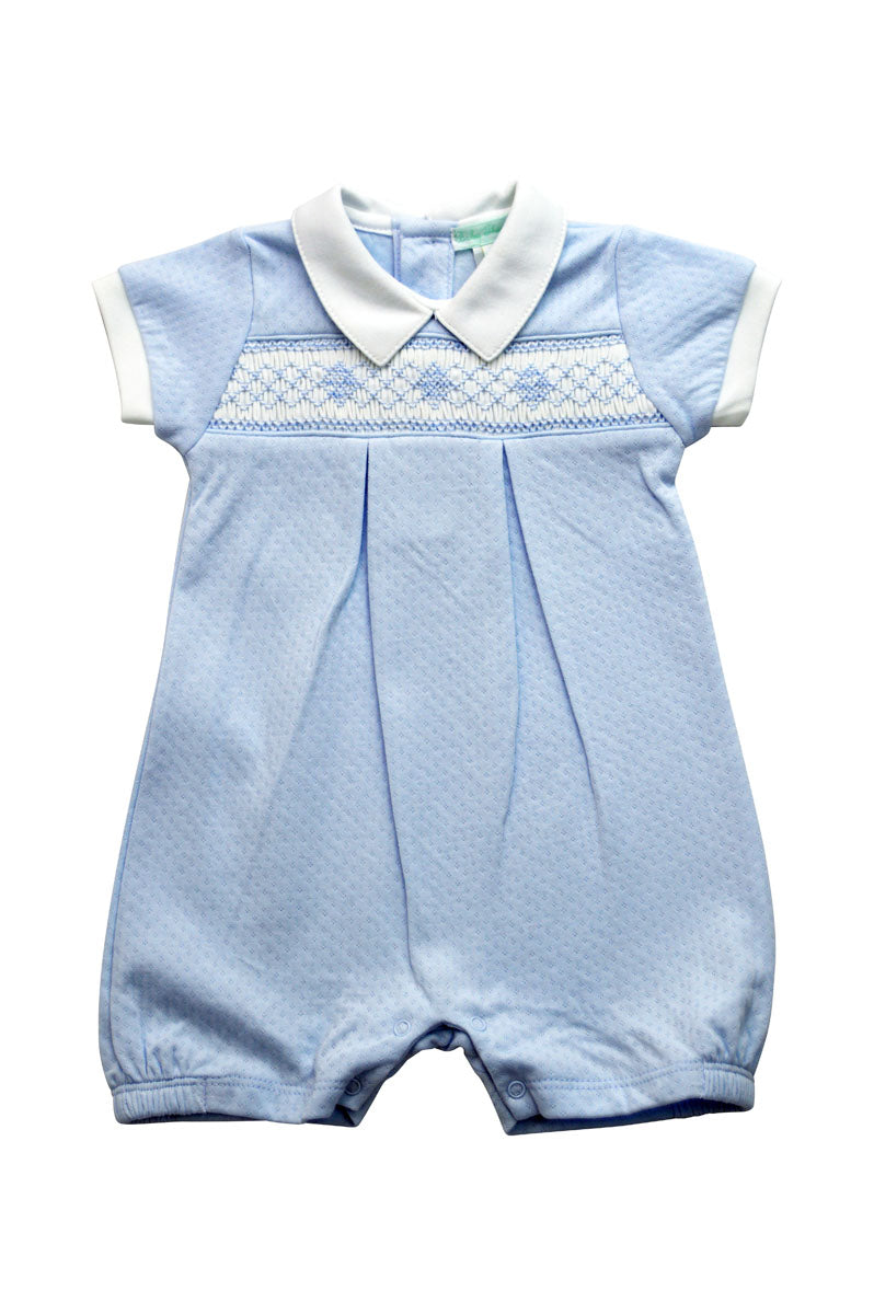 Baby Boy's Blue Jacquard Hand Smocked Romper - Little Threads Inc. Children's Clothing