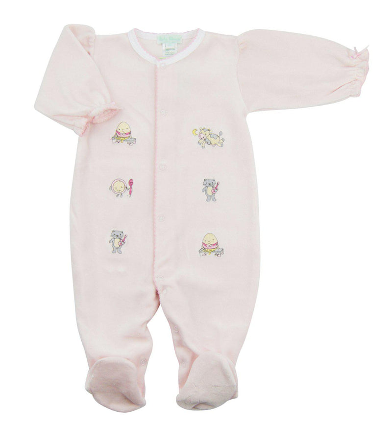 Humpty Dumpty Girls Velour Footie - Little Threads Inc. Children's Clothing