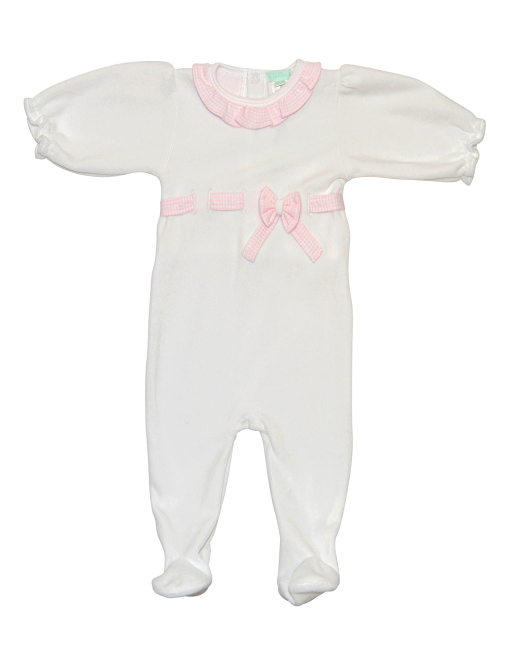 Girl's Pink Checks Bow Velour Footie - Little Threads Inc. Children's Clothing