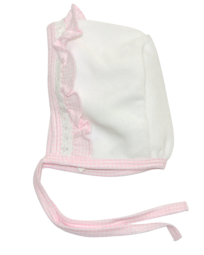 Pink check and white pima cotton baby girl's bonnet