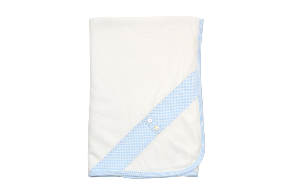 White Velour with Blue Check Blanket - Little Threads Inc. Children's Clothing
