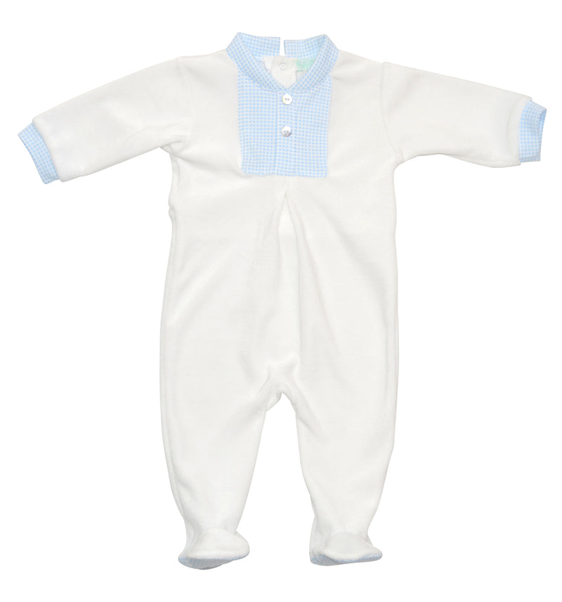 White Velour trimmed with blue checks pima cotton - Little Threads Inc. Children's Clothing