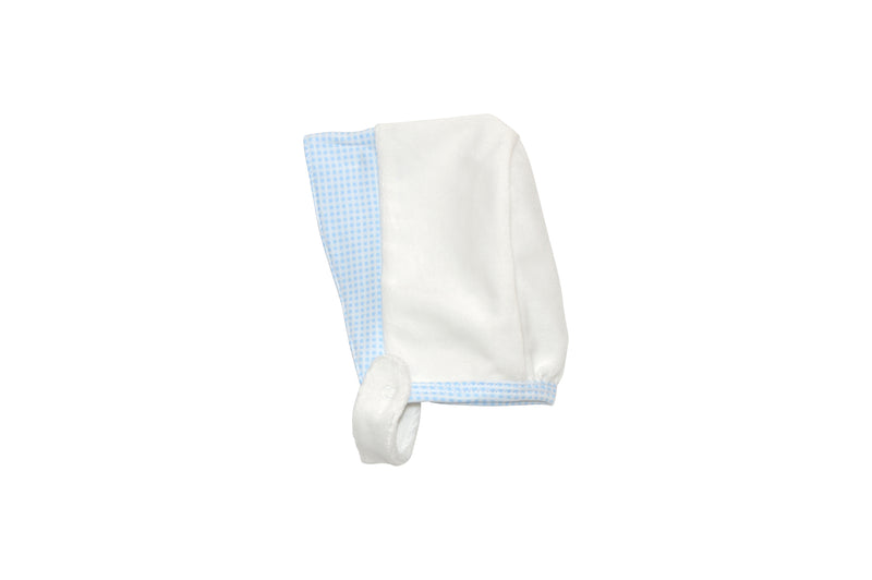 Blue Checkered White Bonnet - Little Threads Inc. Children's Clothing
