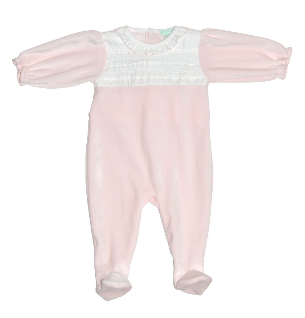 Baby Girl's Pink Velour Smocked Footie - Little Threads Inc. Children's Clothing