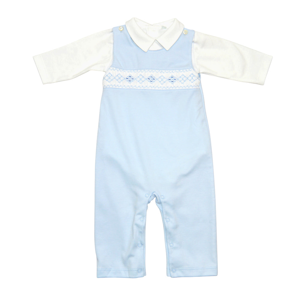Baby Boy's Blue Argyle Diamond Hand Smocked Overall - Little Threads Inc. Children's Clothing