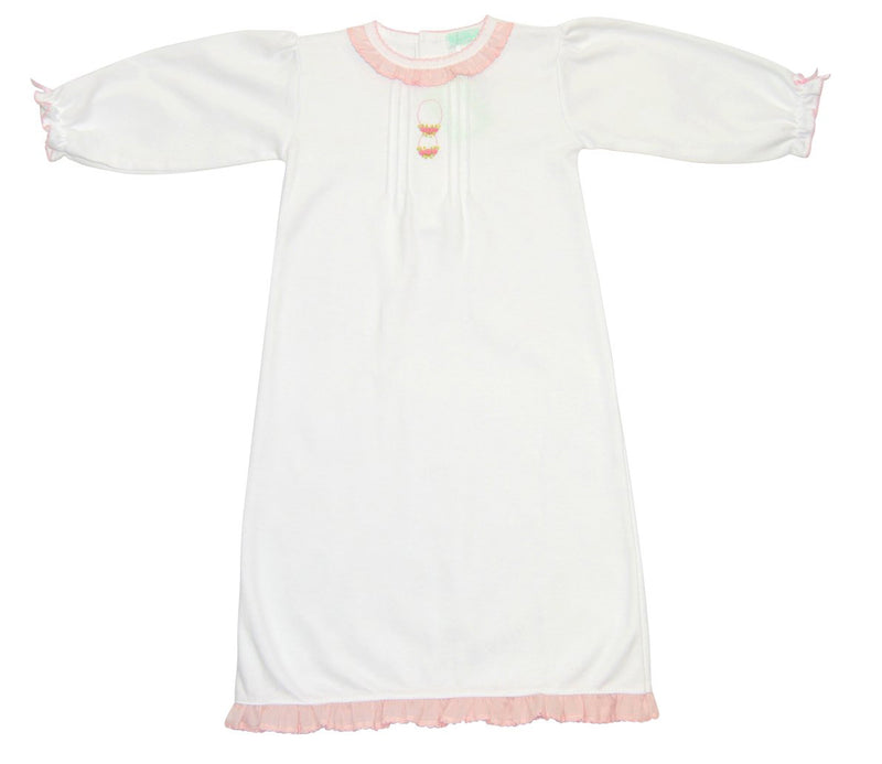 Baby Girl's White Daygown With Pink Posies - Little Threads Inc. Children's Clothing