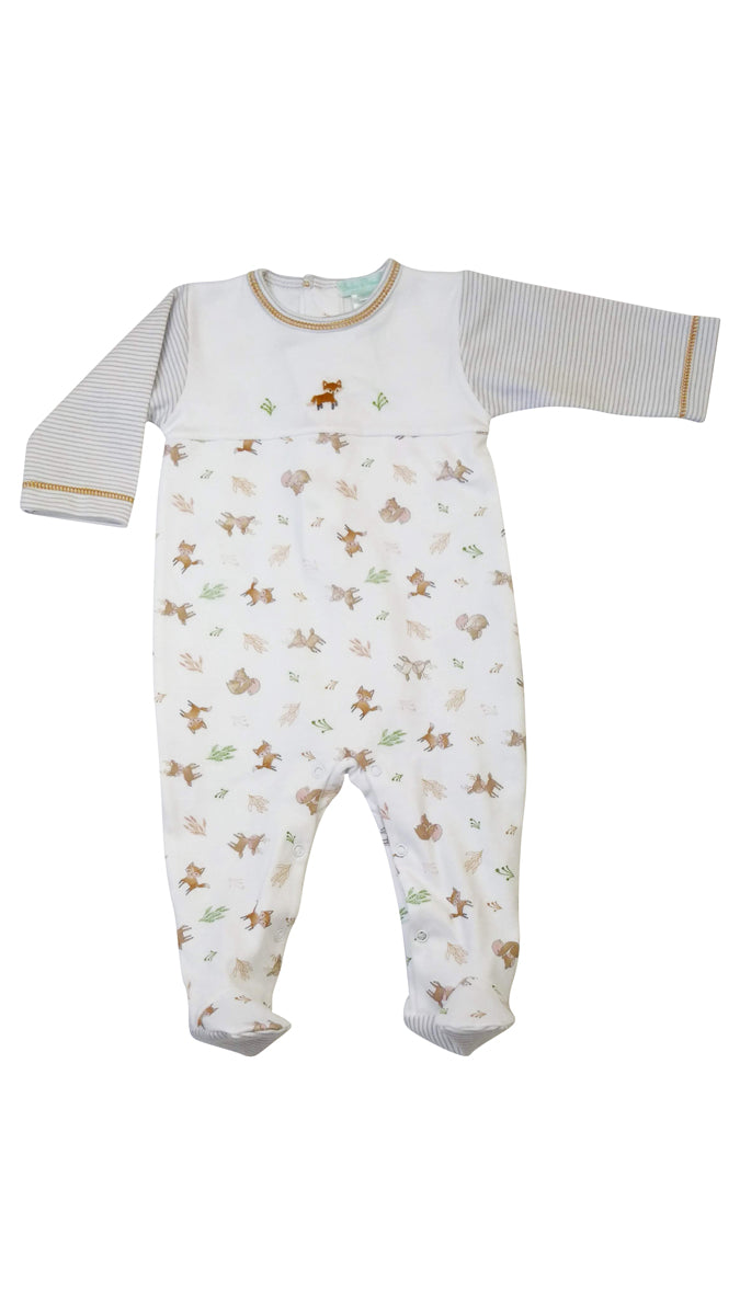 Fox Print Footie - Little Threads Inc. Children's Clothing