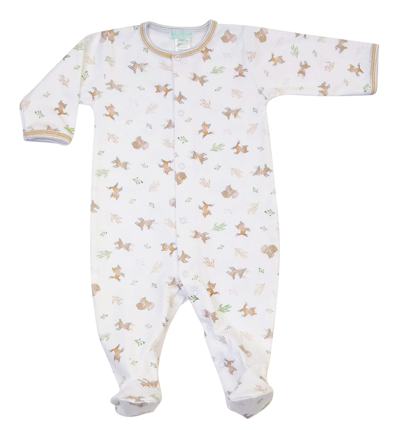 Fox & Squirrel Pima Cotton Print Baby Boy's Footie