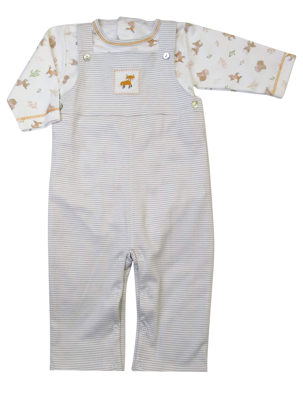 Fox Pima cotton Long overall Set - Little Threads Inc. Children's Clothing