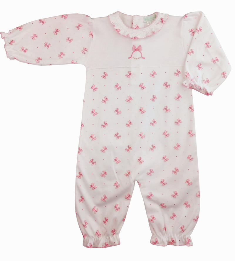 Pink Bows print converter gown - Little Threads Inc. Children's Clothing