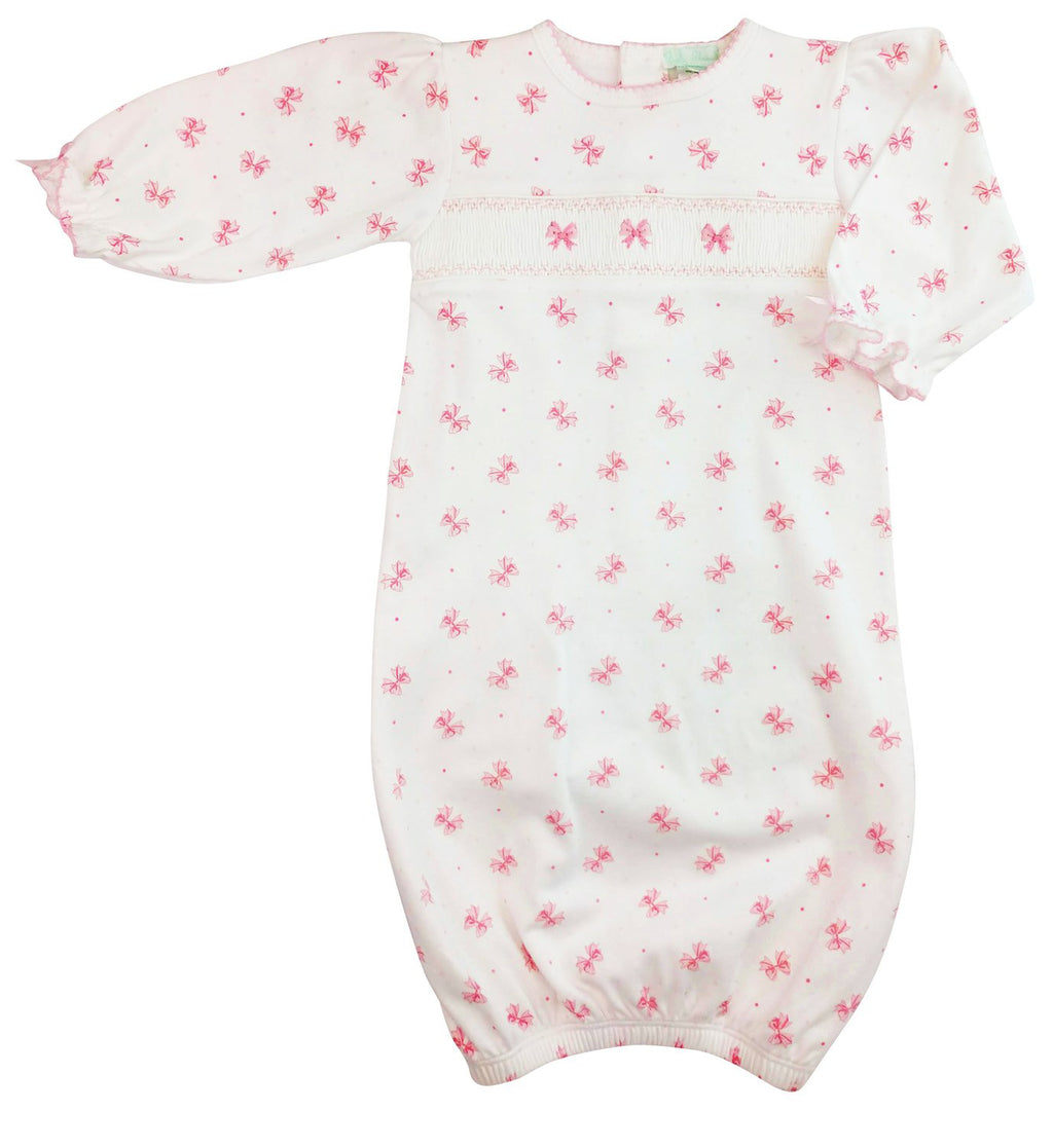 Bows print baby girl hand smocked daygown