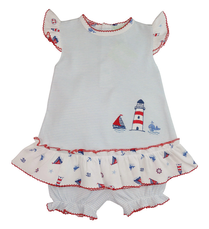 Nautical Pima Cotton baby Girl's dress - Little Threads Inc. Children's Clothing