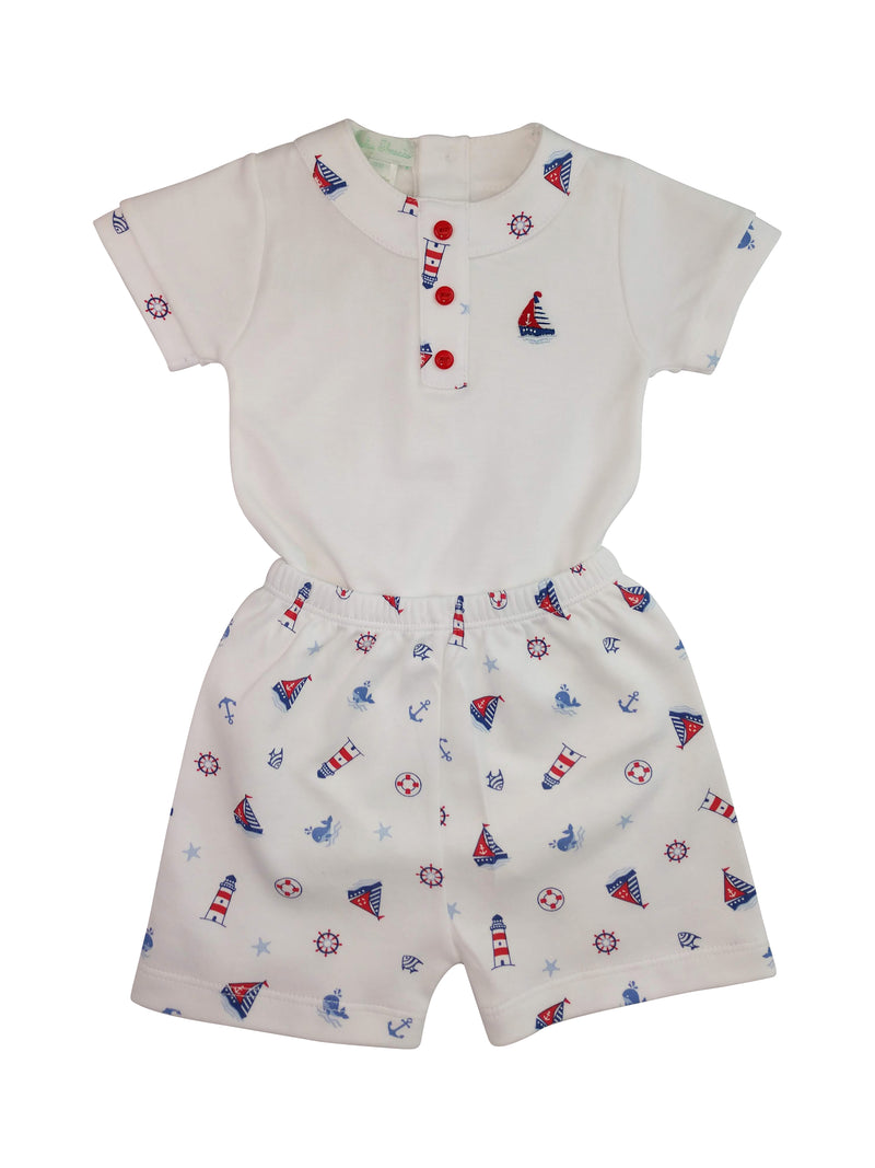 Nautical Pima cotton baby boy short set