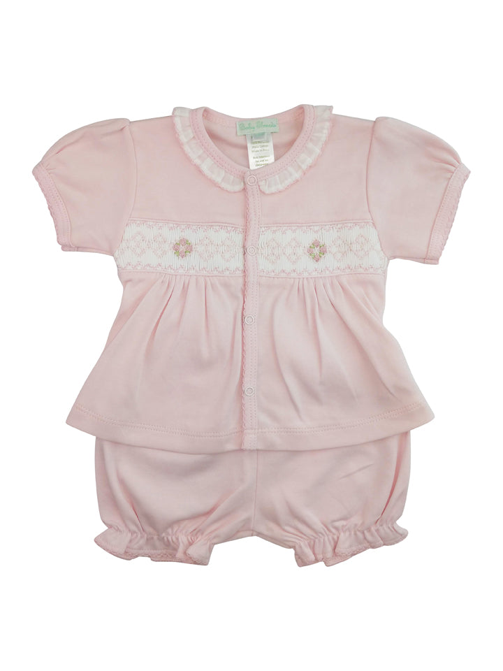 Hand smocked Pima cotton baby shirt and daiper cover set