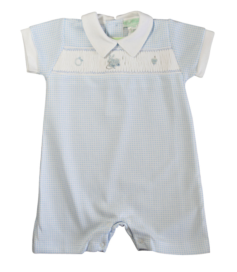 Baby Boy's Blue Check Smocked Bunny Romper - Little Threads Inc. Children's Clothing